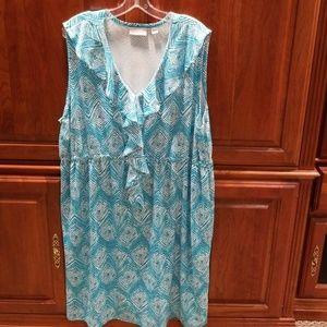 Turquoise Casual Sleeveless Ruffle V Neck Dress